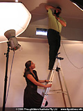 Shooting from a ladder for the American Beauty scene